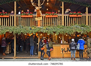 BERN, SWITZERLAND- December 15, 2016 Café in a Christmas market in the Old Town (Altstadt) of Bern city, Switzerland