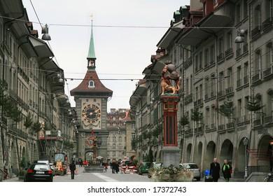 BERN, SWITZERLAND - DECEMBER 15: On the sidewalk of Bern, the capital city of Switzerland December 15, 2007 in Bern, Switzerland.