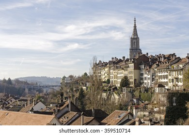 BERN, SWITZERLAND - DECEMBER 22, 2015: General view towards the Old Town. Bern with a population of approx. 140000 citizens it is the fourth most populous city in Switzerland