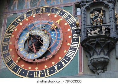 Bern, Switzerland - December 24, 2017: The Zytglogge (Clock Tower) marks the site of the Western Gate into the city and the astronomical clock is a main tourist attraction and dates from 1530.