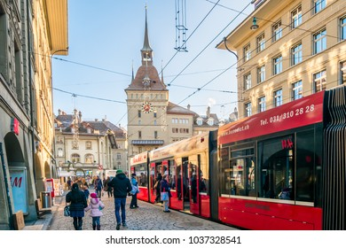BERN, SWITZERLAND - December 26, 2016 - Cityscape old town of Bern, capital of Switzerland with TRAM, Transportation in the city