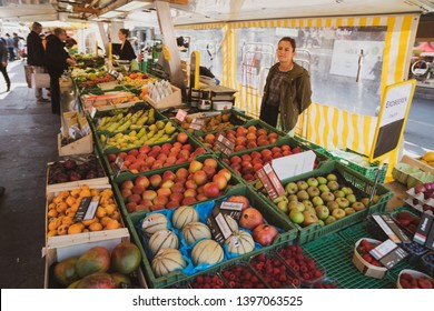 Bern, Switzerland - March 30, 2019: Downtown Bern, Switzerland There are people in traditional markets who want to buy things.