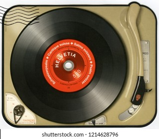 BERN, SWITZERLAND - SEPTEMBER 04, 2014: A stamp printed in Switzerland shows gramophone vinyl record lp, 2014
