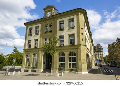 BERN, SWITZERLAND - SEPTEMBER 06, 2015: The Main Building of the private secondary school (for students aged 13 to 16). This school is called NMS Bern, located at Waisenhausplatz