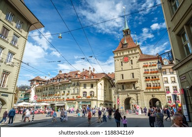 Bern, Switzerland - September 16, 2015: The famous medieval tower called the Kafigturm in Bern, Switzerland and part of the UNESCO Cultural World Heritage Site of the Old City of Bern.
