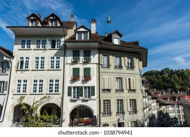BERN, SWITZERLAND, SEPTEMBER 21 2017: Buildings in the main street
