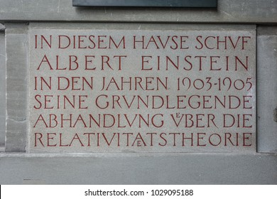 BERN, SWITZERLAND, SEPTEMBER 21 2018: Sign outside the house of Albert Einstein where is written in german that in this place he discovered the theory of relativity