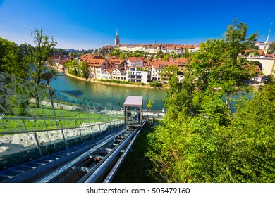 BERN, SWITZERLAND - September 25, 2016 - Lift in the Bern city center. Bern is capital of Switzerland and fourth most populous city in Switzerland.