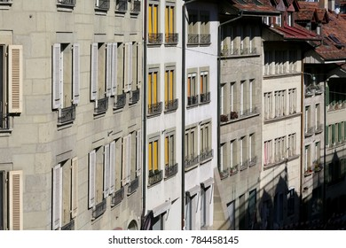 Bern, Switzerland - September 25, 2017: The front walls of Old Town buildings. These tenement houses and many others with their magnificent architecture encourage tourists to visit this wonderful city