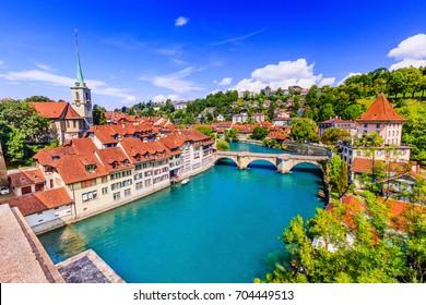 Bern, Switzerland. View of the old city center and Untertorbrucke bridge over river Aare.
