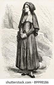 Bernadette Soubirous old engraved portrait. Created by Marc, published on L'Illustration, Journal Universel, Paris, 1858
