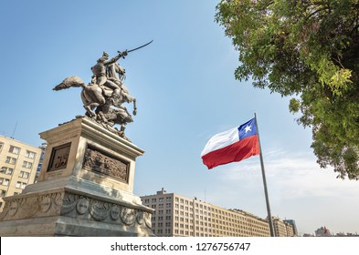 Bernando O'Higgins General Statue at Bulnes Square and Bicentenario Chilean flag - Santiago, Chile