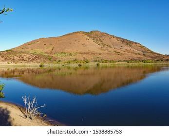 Bernardo Mountain Reflected in Lake Hodges, San Diego North County, October 2019