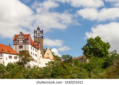 The Bernburg castle with blue sky and clouds