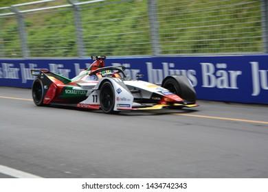 BERNE / SWITZERLAND - JUNE 22 2019:  Brazilian racing driver Lucas di Grassi (Audi Sport ABT Schaeffler) driving his Formula E car during the Swiss E-Prix on June 22, 2019 in Berne, Switzerland.