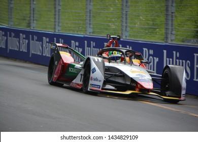 BERNE / SWITZERLAND - JUNE 22 2019: Brazilian race car driver Lucas di Grassi (Audi Sport ABT Schaeffler Team) driving his Formula E car during the Swiss E-Prix on June 22, 2019 in Berne, Switzerland.