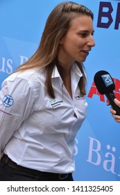 BERNE / SWITZERLAND - MAY 16 2019: Swiss race car driver Simona de Silvestro (test driver for VENTURI) during the Swiss E-Prix launch event on May 16, 2019 in Berne, Switzerland.