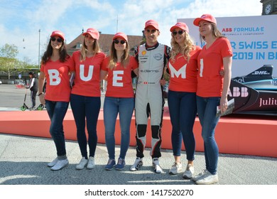 BERNE / SWITZERLAND - MAY 16 2019: Swiss race car driver Sebastien Buemi (Nissan e.dams) with fans during the Swiss E-Prix launch event on May 16, 2019 in Berne, Switzerland.