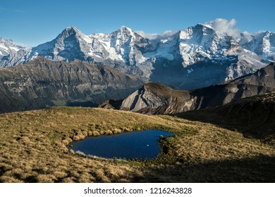 """Bernese alps with Eiger, Mönch and Jungfrau at the """"Sulegg"""" above Isenfluh, county of Lauterbrunnen, Switzerland"""