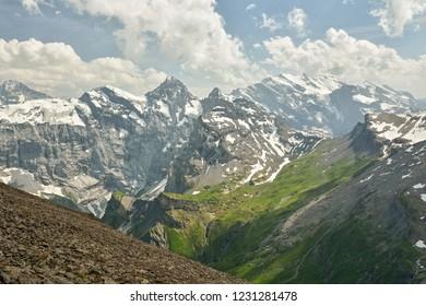 Bernese Alps as seen from top of mount Schilthorn in canton of Bern, Switzerland
