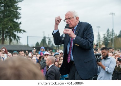 Bernie Sanders speaks outside for those who couldn't make it to a totally packed rally at Hudson's Bay high school in Vancouver Washington. 2/20/2016.