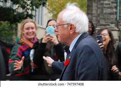 Bernie Sanders (Vermont Senator, American Presidential Election Candidate, Independent Politician) Arrives At The University Of Toronto To Speak With Students About Healthcare, Canada: October 29 2017