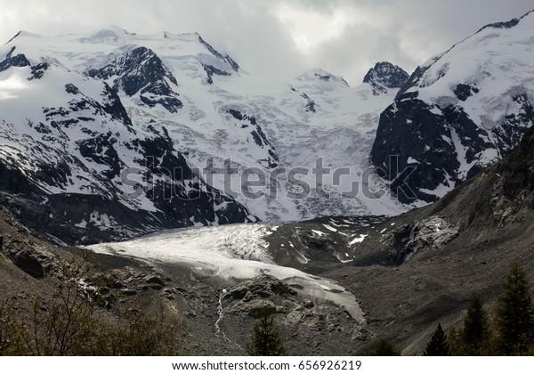 Bernina Alps and – Morteratsch glacier.  Rhaetian alps on summer. Engadine, Grisons, Switzerland.