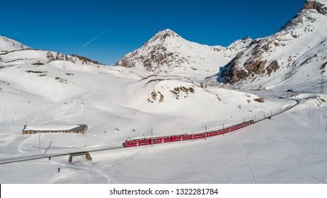 Bernina Express on the Rhaetian Railway. UNESCO