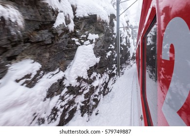 Bernina Express on snow winter