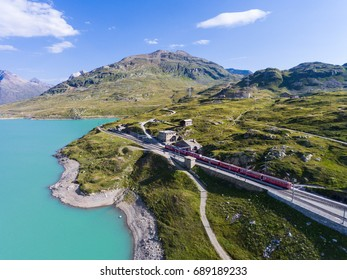 Bernina Express - Red train on Bernina Pass