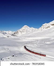 Bernina Express, Unesco heritage. Swiss Alps