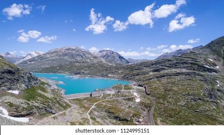 Bernina Pass, lake Bianco. Panoramic view