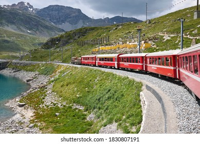 Bernina Pass, Switzerland - July 22, 2020 : View of Bernina train