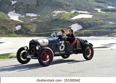 BERNINA PASS, SWITZERLAND - JUNE 14: A black Ford Model A takes part to the Summer Marathon classic car race on June 14, 2014 at Bernina Pass. This car was built in 1930