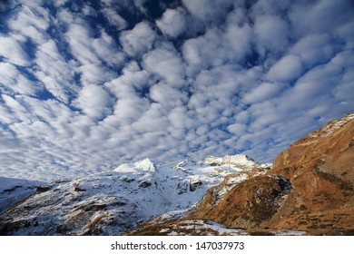 bernina step of snow and clouds