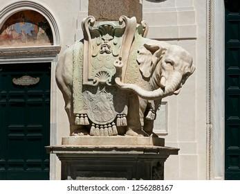 Bernini's famous obelisk with the elephant statue in front of the Church Santa Maria Sopra Minerva in Rome Italy