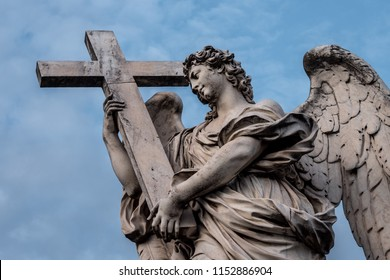 Bernini's marble statue of angel with cross from the Sant'Angelo Bridge in