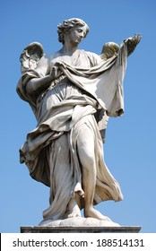 Bernini's marble statue of angel with cross from the Sant'Angelo Bridge in Rome