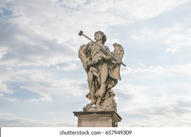 Bernini's marble statue of angel from the Sant'Angelo Bridge in Rome, Italy