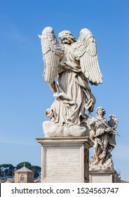 Bernini's marble statues of angels from the Sant' Angelo Bridge in Rome, Italy. Selective focus.