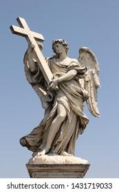 Bernini's sculpture along Sant'Angelo bridge before Castel S.Angelo in Rome, Italy.