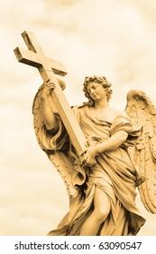 Bernini's statue of angel from Sant' Angelo bridge,Rome,Italy.