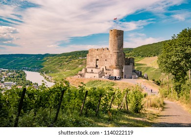Bernkastel Burgruine Landshut Mosel river Germany, old castle looking out over the river Mosel