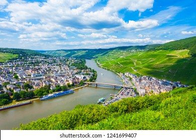Bernkastel Kues aerial panoramic view. Bernkastel-Kues is a well-known winegrowing centre on the Moselle, Germany.