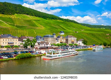 Bernkastel Kues and vineyards aerial panoramic view. Bernkastel-Kues is a well known winegrowing centre on the Moselle river, Germany.
