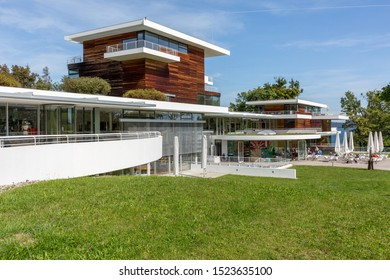 """BERNRIED, BAVARIA / GERMANY - September 20, 2019: View on the """"Buchheim Museum of Phantasy"""" (german: Museum der Phantasie). The museum opened in 2001. It contains artwork of famous expressionists."""
