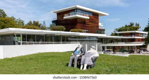 """BERNRIED, BAVARIA / GERMANY - September 20, 2019: Panorama view on the """"Buchheim Museum of Phantasy"""" (german: Museum der Phantasie). The museum opend in 2001 and contains expressionist artwork."""