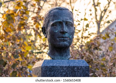 Bernstadt a.d. Eigen, Saxony/Germany - November 14th 2019: Bust of Klaus Riedel a German rocket pioneer. He was involved in liquid rocket fuel experiments, and eventually worked on the V-2 programme