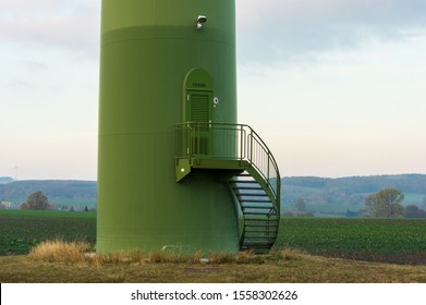 Bernstadt auf dem Eigen, Saxony/Germany - November 11th 2019: closed service door in windturbine made by Enercon GmbH the fourth-largest wind turbine manufacturer in the world