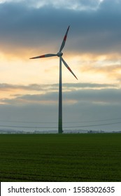 Bernstadt auf dem Eigen, Saxony/Germany - November 11th 2019: Windturbine made by Enercon GmbH the fourth-largest wind turbine manufacturer in the world and  market leader in Germany